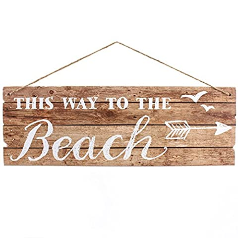 'This Way To The Beach' Sign Driftwood Effect Nautical Plaque