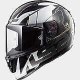LS2 FF323 Flecha R Techno Casco de Moto de Cara Completa Cascos Integrales - Negro Blanco M (57-58cm)