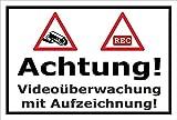 Video-Überwachung Schild - Achtung Videoüberwachung mit Aufzeichnung – 30x20cm | stabile 3mm starke Aluminiumverbundplatte – S00348-002-A – Kamera-Überwachung +++ in 20 Varianten erhältlich