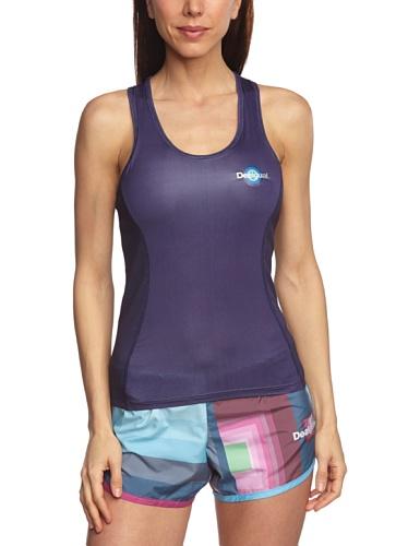 Desigual Sport Blue T-Shirt sans manches Femme Bleu