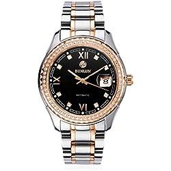 binlun Herren Vertrauen Kristall Rugged Lünette Japanisches Mechanische Schwarz Zifferblatt Edelstahl casual Armbanduhr
