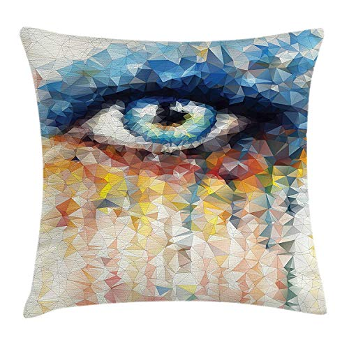 Pants New Geometric Throw Pillow Cushion Cover, Stained Glass Style Human Eye Design with Colorful Angular Polygonal Triangles, Decorative Square Accent Pillow Case, 18 X 18 inches, Multicolor - Sealy Posturepedic Memory Foam