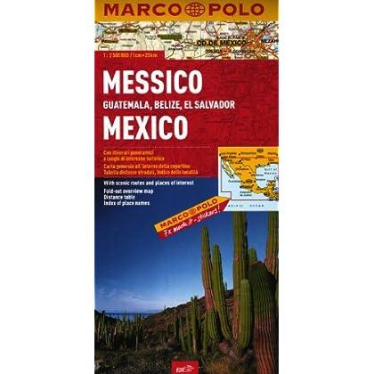 Messico, Guatemala, Belize, El Salvador 1:2.500.000