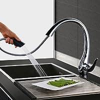 HOMELODY 2 funciones 360° Giratorio Grifo de cocina extraíble Grifo de Fregadero Monomando de Fregadero Grifería cocina Agua Fría y Caliente Cromado