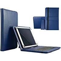 """Funda de piel sintética de 10,1, calidad teclado con cable micro USB para Lenovo Tab 2A10–30F–USB KB azul 10.1"""""""