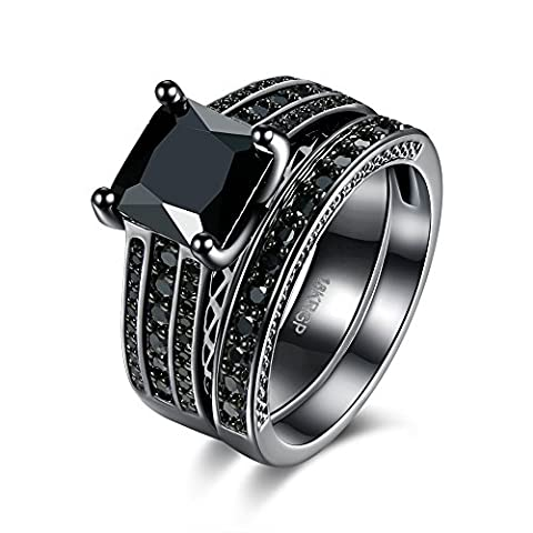 Thumby Square Black Zircon Ring for Women,Black Gun Plated,6