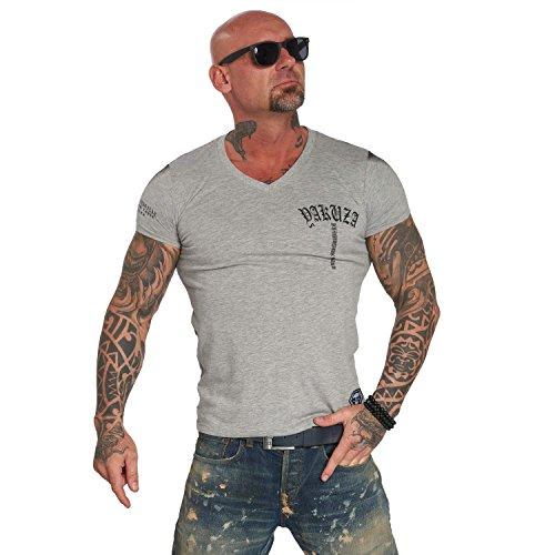 Yakuza Original Herren Skull V02 V-Neck T-Shirt, Gr.-XL,Hellgrau Meliert