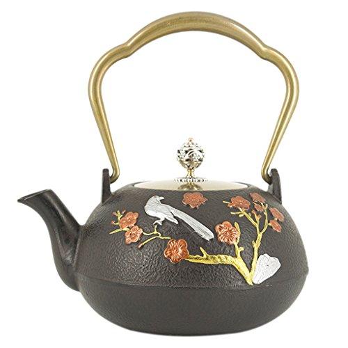 FITYLE Gusseiserne Teekanne Teekrug Asiatische Teekanne aus Gusseisen - 5, 1300ml