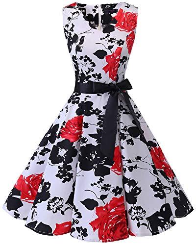 bridesmay Damen Vintage 1950er Rockabilly Ärmellos Retro Cocktailkleid Partykleid White Red Flower L