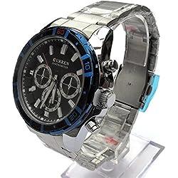 QBD Edelstahl Herren Armbanduhr. Übergroße Große und geschoben. Wasserabweisend (schwarz)