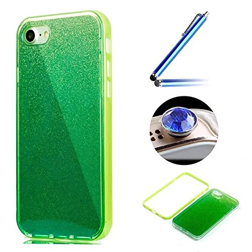 Etsue Glitzer Silikon Schutz HandyHülle für iPhone 6 Plus/6S Plus (5.5 Zoll) Laser Reflect Blue Light Bling TPU Hülle, Luxus Glitzer Glanz Silikon Handytasche Ultradünnen Weiche Durchsichtig Handyhüll Glitter,Grün