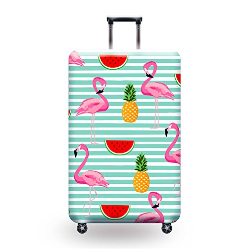 Youth Union Kofferhülle Elastisch Koffer Schutzhülle Flamingo Muster 18-32 Zoll Luggage Cover Protector Kofferschutzhülle mit Reißverschluss (Flamingo 15, M) Flamingo-muster