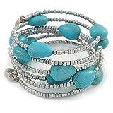 Pietra turchese e argento metallizzato perline di vetro pendente a spirale Flex–Braccialetto regolabile