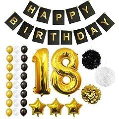 Idea Regalo - Palloncini, Accessori & Decorazioni Festa di Compleanno Set - Grande Palloncino in Foil Decorazioni Palloncini in Lattice Oro, Bianco & Nero - Decorazione Adatta per Tutti gli Adulti (Age 18)