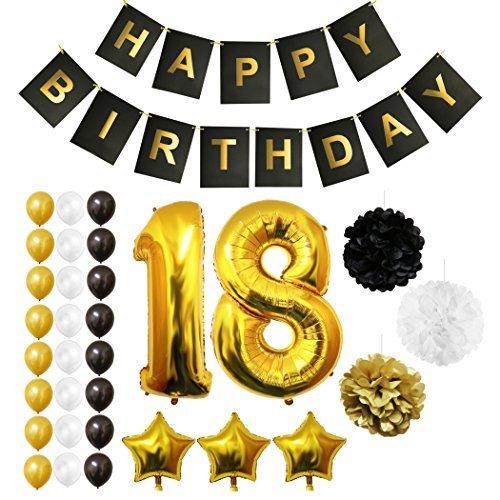 BELLE VOUS Luftballons Happy Birthday Banner Party Zubehör Set & Dekorationen Folienballons Geburtstag - Gold, Weiß & Schwarz Latex-Ballon-Dekoration - Dekor für alle Erwachsenen geeignet (Age 18)