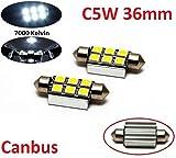 2x Stück 36mm mit 6 Power Smd 12V XENON WEISSE Dioden mit CANBUS Widerstand. Plug & Play Montage. Ideal als Kennzeichenbeleuchtung Innenraumneleuchtung INION®
