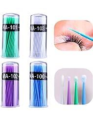 4 Set/ 400 Stück Microbürstchen Reinigungsstäbche 1.2mm, 1.5mm, 2.0mm, 2.5mm Wattestäbchen Minipinsel Wimpernverlängerung