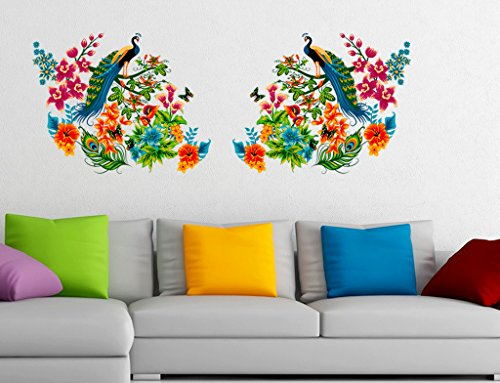 Decals Design 'Peacock Birds on Branch Leaves' Wall Sticker (PVC Vinyl, 60...
