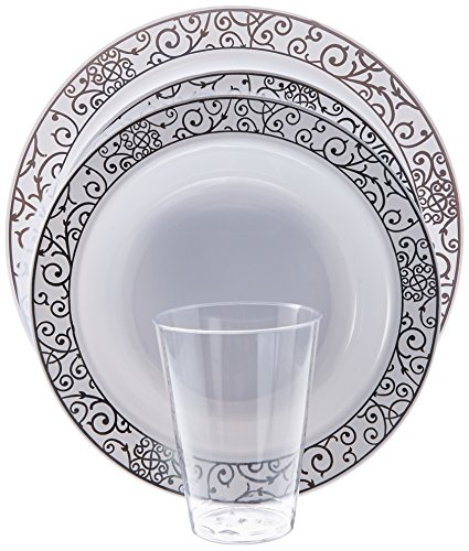 RANB- 56 Pcs. Disposible Dinnerware Set. 7.5 inch Bowl, 7.5 inch Plate, 9 inch Plate, Fork, Knife, Spoon, 7 oz Cups, Wedding Plates Set, 8 pcs. Each.