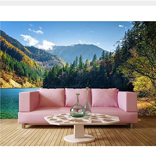 Meaosy See Berge Wälder Landschaft Natur 3D Landschaft Tapete, Wohnzimmer Tv Sofa Wand Schlafzimmer Restaurant Wandbild-280X200Cm