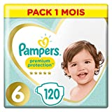 Pampers Premium Protection Taille 6, 120 Couches, 12-17kg Pack 1 Mois