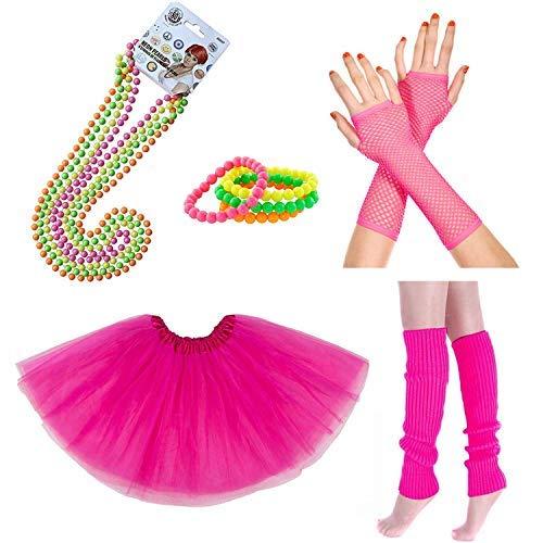 iLoveCos 80er Party Kleid Zubehör Neon Erwachsener Tutu Beinwärmer Fishnet Pink Handschuhe Neon Mehrfarbig Perlenkette Perlen Halsketten Armbänder 1980s Fancy Dress Mädchen Frauen Night Out Party