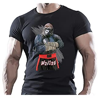 Arubas-uk Herren T-Shirt, Motiv: Boxender Gorilla, Motivations-T-Shirt, UFC-Design, WWF-/Muay-Thai-Design - XL - schwarz