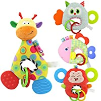 Byste Animal Shape With Tooth Glue Bb Device Hand Toy Baby Toy O-Hand Cradle Newborn Baby Animal Soft Rattle Teether Hanging Bell Plush Babe Toy