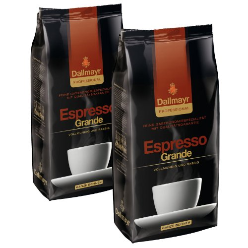 Dallmayr Professional Espresso Grande Bohnenkaffee, Röstkaffee, Kaffee, ganze Bohnen, 2 x 1000 g