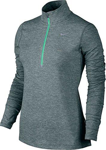 Nike Element Half Zip, Maglia da Corsa Donna gris (hasta / htr / green glow)