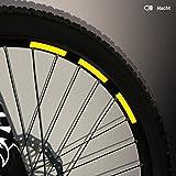 Motoking Fahrrad-Reflektorenaufkleber - Gelb - 22 Aufkleber im Set - Breite: 10 mm - reflektierende Felgenaufkleber für Mountainbike-, Fahrradfelgen & mehr