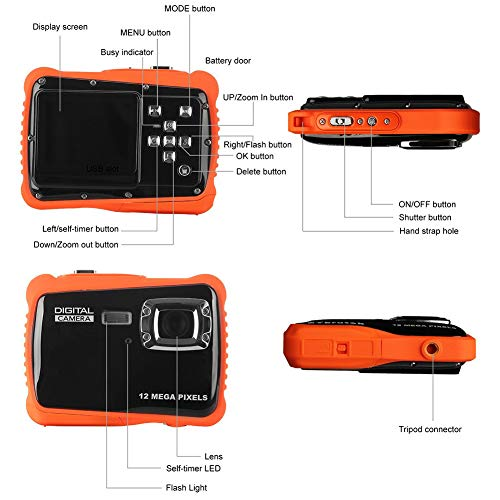 Pixel 12M wasserdichte Digitalkamera-Kind,3 Meter Wasserdicht Kamera mit LCD-Bildschirm TFT 2-Zoll-Video-Spielzeug-Camcorder Digitalzoom 8X,Orange