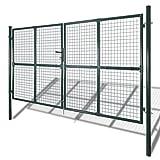 Festnight Cancello per recinzione doppio in acciaio rivestito a polvere