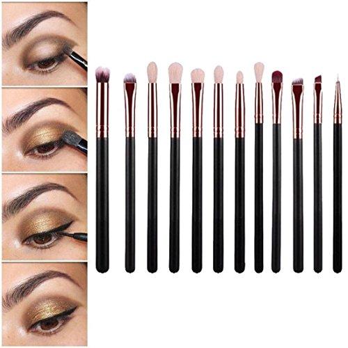 CINEEN Set da 12 Pennelli Professionali per Make-up, tra cui Pennello per Ombretto, Pennello per Correttore, Pennello per Labbra, Pennello per Sopracciglia? Pennello per eyeliner