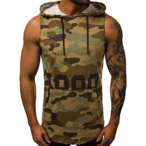 JiaMeng Camisetas Elástica de Fitness sin Mangas Tank Top Gym para Hombre Fitness Muscle Estampado sin Mangas con Capucha Culturismo Bolsillos de Secado Ajustado (Ejercito Verde 3, L)