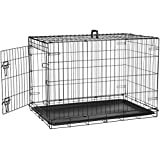 AmazonBasics Single-Door Folding Metal Dog Cage with Paw Protector (36x23x25 inches)