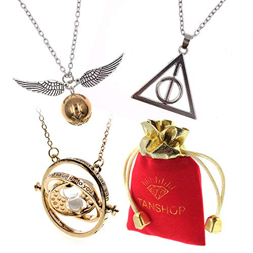 Harry Potter inspiriert 3 Stück Halskette für Kinder Zeit Turner Halskette Deathly Hallow Golden Snitch Halskette für Mädchen Kinder Dekoration Spielzeug Sammlung magische Cosplay Kostüm Schmuck Set