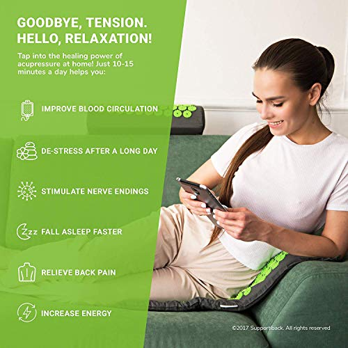 Supportiback® Tapis et Oreiller d'Acupression - Soulage dos et nuque, détend les muscles, réduit les insomnies - Housse lavable, sac de transport