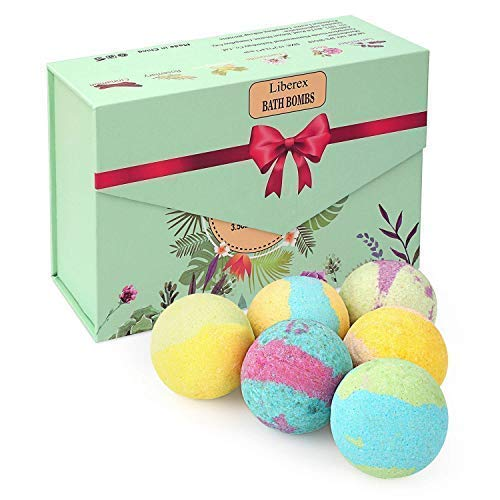 Liberex Bath Bombs Kit – Organic Natural Essential Oils, Relax and Moisturize Dry skin, Gift Set for Her, Mum, Women and Girls, 6 Scents x 100g