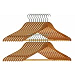 Pack of 40 WOODEN COAT HANGERS SUIT GARMENT CLOTHES WARDROBE WOOD HANGER WITH TROUSER BAR NEW by Wilsons Direct