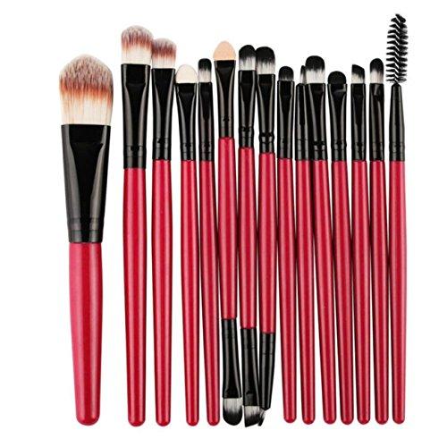 CYBERRY.M 15 Pcs/Ensembles Eye Shadow Foundation Brosse à LèVres Sourcils Pinceau Maquillage Outil (Rouge)