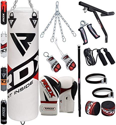 RDX Boxsack Set Gefüllt Kickboxen MMA Kampfsport Muay Thai Boxen mit wandhalterung Stahlkette Training Boxhandschuhe 17 PC Schwer 4FT 5FT Punching Bag (MEHRWEG) -