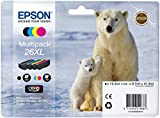 EPSON  C13T26364010 Encre d'origine Multipack Ours polaire T2636 : cartouches Noir XL, Cyan XL, Magenta XL, Jaune XL