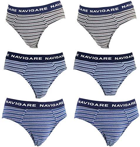 4fa5b9462d4372 NAVIGARE underwear Slip Uomo Cotone Elasticizzato Intimo Pacco da 6 Mutande  (S / 3)