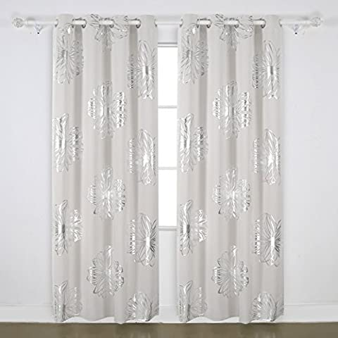 Deconovo Eyelet Curtains Ready Made Foil Print Floral Thermal Insulated
