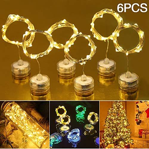 6 Stücks LED Lichterketten, 2 M 20 LED Kerzenlicht Lichterketten Lichter Weihnachtskerzentauchlampe für Innen- und Außendekoration für Haus,Hochzeit, Party [Energieklasse A +]