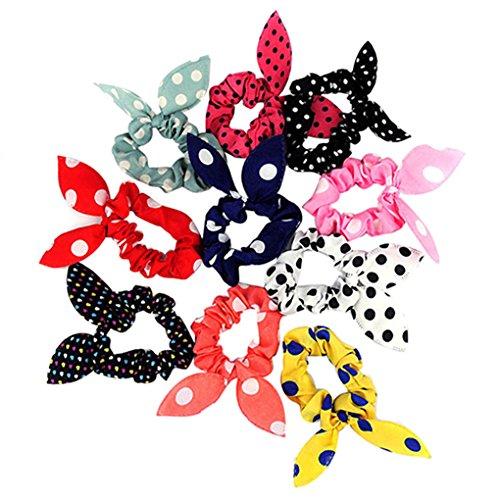 10 süße Haarbänder für Frauen mit Hasenohren aus Chiffon von Gemini_Mall, gepunktet, mit Schleife
