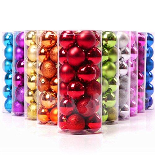 Keysui Lot de 24 Boules de Noël Mats et Brillantes 4cm Violet