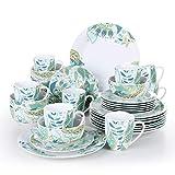 VEWEET Elina Piatti Servizio Stoviglie Set 32 Pezzi in Porcellana con 8 Piatti, 8 Piatti da Dessert, 8 Ciotola per Cereali e 8 Tazza per 8 Persone