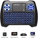 (2018 Latest, Backlit) ANEWISH 2.4GHz Mini Wireless Keyboard With Touchpad Mouse Combo, Rechargable Li-ion Battery & Multi-media Handheld Remote For Google Android TV Box, PS3, PC, PAD